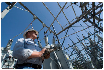 Utility worker at substation